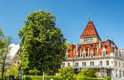 Sikt av den d'Ouchy Châteauen, en slott i Lausanne Arkivfoton