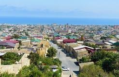 Sikt av den Derbent staden Republik av Dagestan, Ryssland royaltyfri fotografi