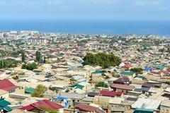 Sikt av den Derbent staden Republik av Dagestan, Ryssland arkivfoto