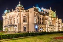 Sikt av den dramatiska teatern i Krakow Arkivfoton