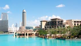 Sikt av den Dubai ner staden fotografering för bildbyråer