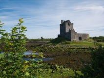 Sikt av den Dunguaire slotten i Irland på lågvatten royaltyfria bilder