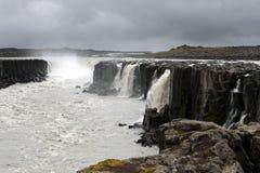 Sikt av den fantastiska och kraftiga Selfoss vattenfallet, Island Arkivfoto