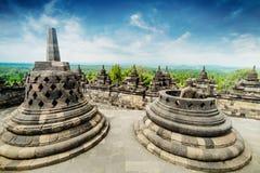 Sikt av den forntida Borobudur buddistiska templet Java Indonesien Royaltyfri Foto