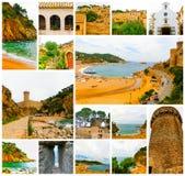 Sikt av den forntida fästningen i Tossa de mars Costa Brava, Spanien arkivfoton