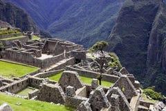 Sikt av den forntida Inca City av Machu Picchu, Peru royaltyfri foto