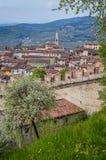 Sikt av den forntida italienare Walled staden av Soave med Crenellated torn och väggar Royaltyfri Bild