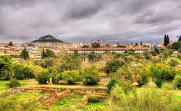 Sikt av den forntida marknadsplatsen av Aten Royaltyfri Foto