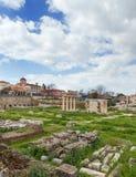 Sikt av den forntida marknadsplatsen av Aten, Grekland Royaltyfri Bild