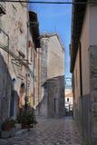 Sikt av den forntida staden - Corfinio, L'Aquila, Abruzzo Arkivbild