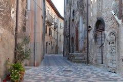 Sikt av den forntida staden - Corfinio, L'Aquila, Abruzzo Arkivbilder
