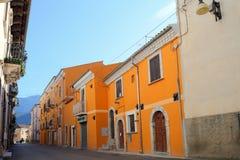 Sikt av den forntida staden - Corfinio, L'Aquila, i regionen av Abruzzo - Italien Fotografering för Bildbyråer