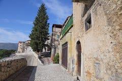 Sikt av den forntida staden - Corfinio, L'Aquila, i regionen av Abruzzo - Italien Royaltyfria Foton