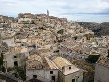 Sikt av den forntida staden av Matera, Basilicata royaltyfri fotografi