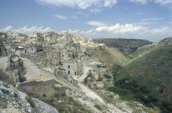 Sikt av den gamla delen av Matera, Italien Arkivbild