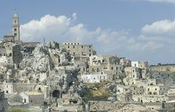 Sikt av den gamla delen av Matera, Italien royaltyfria bilder