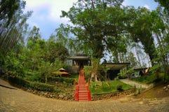 Sikt av den gamla kloster bredvid trädgård Royaltyfria Foton