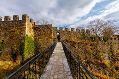 Sikt av den gamla slotten och bron i Neuchatel Schweiz royaltyfria foton