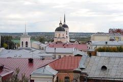 Sikt av den gamla stad`en för `, staden av Tomsk, västra Sibirien royaltyfri bild