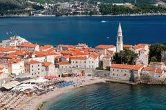 Sikt av den gamla staden av Budva, Montenegro Arkivbild