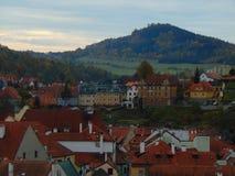 Sikt av den gamla staden av Cesky Krumlov Arkivfoto
