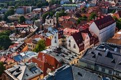 Sikt av den gamla staden av Tallinn från torn för ` s för St Olaf kyrkligt estonia tallinn Fotografering för Bildbyråer