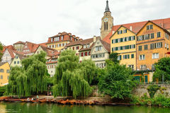 Sikt av den gamla staden av Tuebingen, Tyskland Arkivbilder