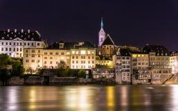 Sikt av den gamla staden för Basel i Schweiz Arkivfoton