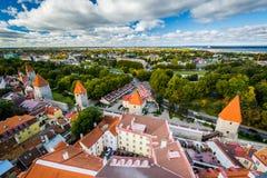 Sikt av den gamla staden från kyrkligt torn för St Olafs, i Tallinn Royaltyfria Bilder