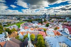 Sikt av den gamla staden från kyrkligt torn för St Olafs, i Tallinn Royaltyfri Foto