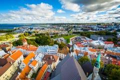 Sikt av den gamla staden från kyrkligt torn för St Olafs, i Tallinn, Royaltyfria Foton