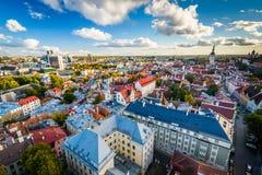 Sikt av den gamla staden från kyrkligt torn för St Olafs, i Tallinn, E Arkivbilder