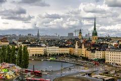 Sikt av den gamla staden Gamla Stan i Stockholm sweden Royaltyfria Foton
