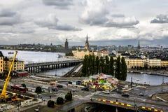 Sikt av den gamla staden Gamla Stan i Stockholm sweden Arkivfoton