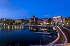 Sikt av den gamla staden Gamla Stan i Stockholm sweden Fotografering för Bildbyråer