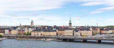 Sikt av den gamla staden i Stockholm från söder Fotografering för Bildbyråer