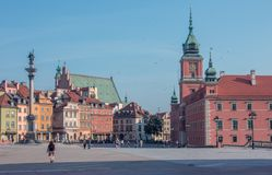 Sikt av den gamla staden i Warszawa, Polen Arkivbild