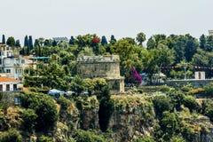 Sikt av den gamla staden av Kaleici i Antalya kalkon Fotografering för Bildbyråer