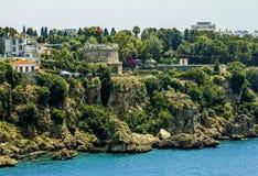 Sikt av den gamla staden av Kaleici i Antalya kalkon Royaltyfri Foto
