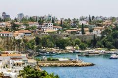 Sikt av den gamla staden av Kaleici i Antalya kalkon Royaltyfria Foton