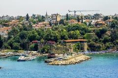 Sikt av den gamla staden av Kaleici i Antalya kalkon Arkivfoto