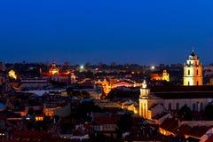 Sikt av den gamla staden Vilnius Fotografering för Bildbyråer