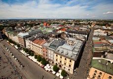 Sikt av den gammala townen av Cracow Arkivfoton