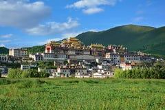 Sikt av den Ganden Sumtseling Tibetian templet i Zhongdian, Kina Arkivbild