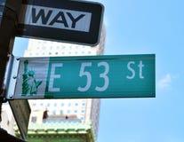 Sikt av den 53. gatan Royaltyfri Bild