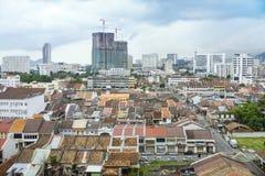 Sikt av den Georgetown staden i Penang Malaysia Asien Royaltyfria Foton