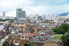 Sikt av den Georgetown staden i Penang Malaysia Asien Arkivbild