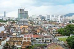 Sikt av den Georgetown staden i Penang Malaysia Asien Royaltyfri Bild
