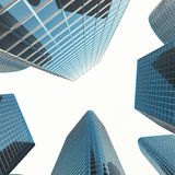 Sikt av den glass byggnaden, höghus, skyskrapa, kommersiell modern stad av framtid Ekonomiskt och finansiellt Royaltyfri Bild