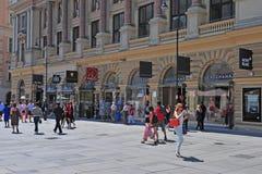 Sikt av den Graben shoppinggatan i centrum av Wien Arkivfoton
